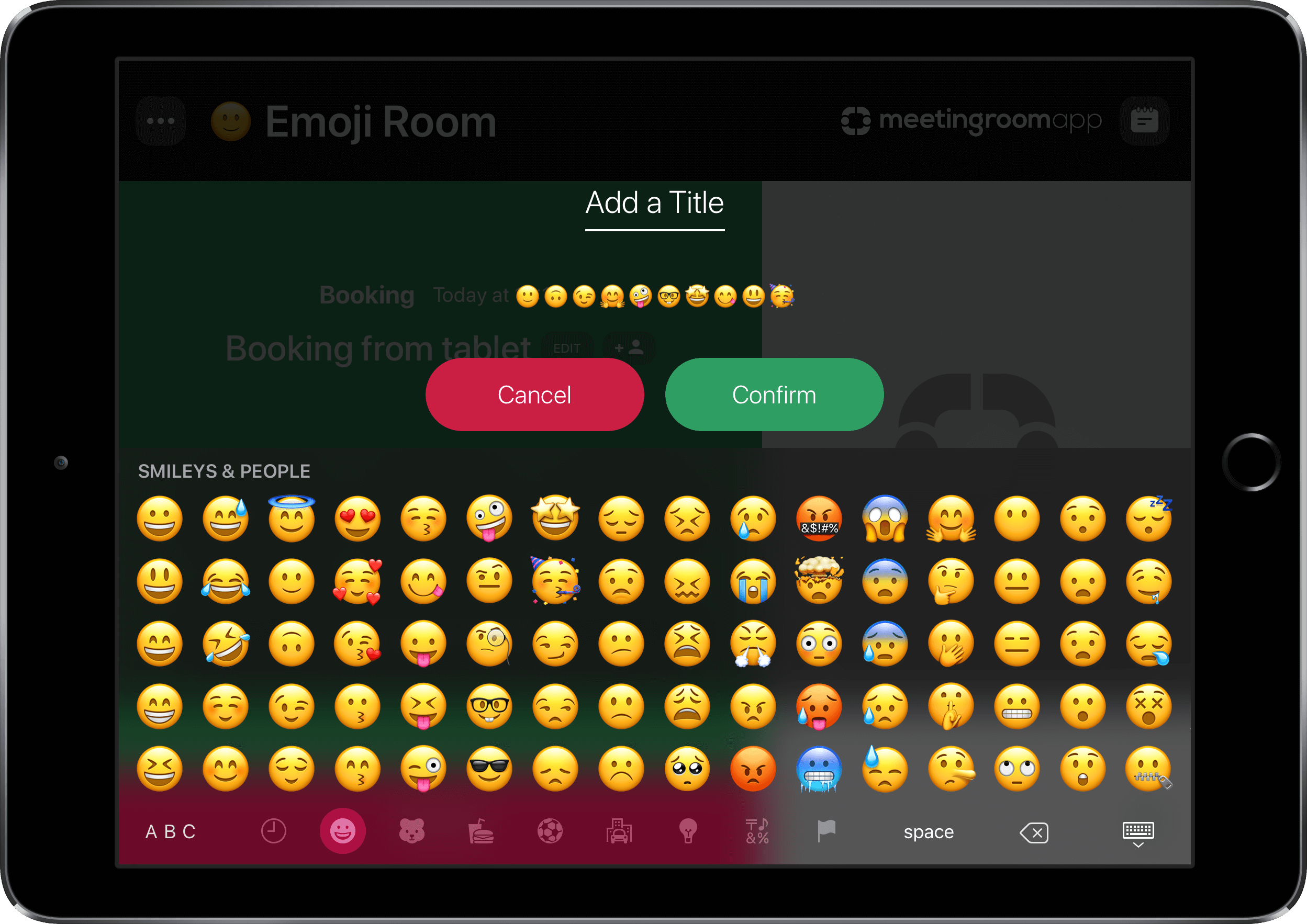 Emoji in room booking system