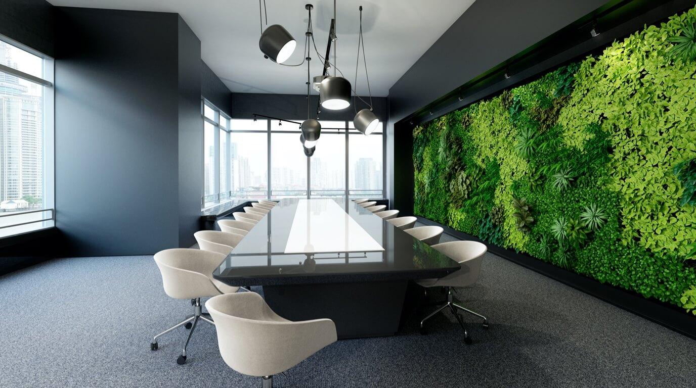 Healthy workspace and social distance between desks