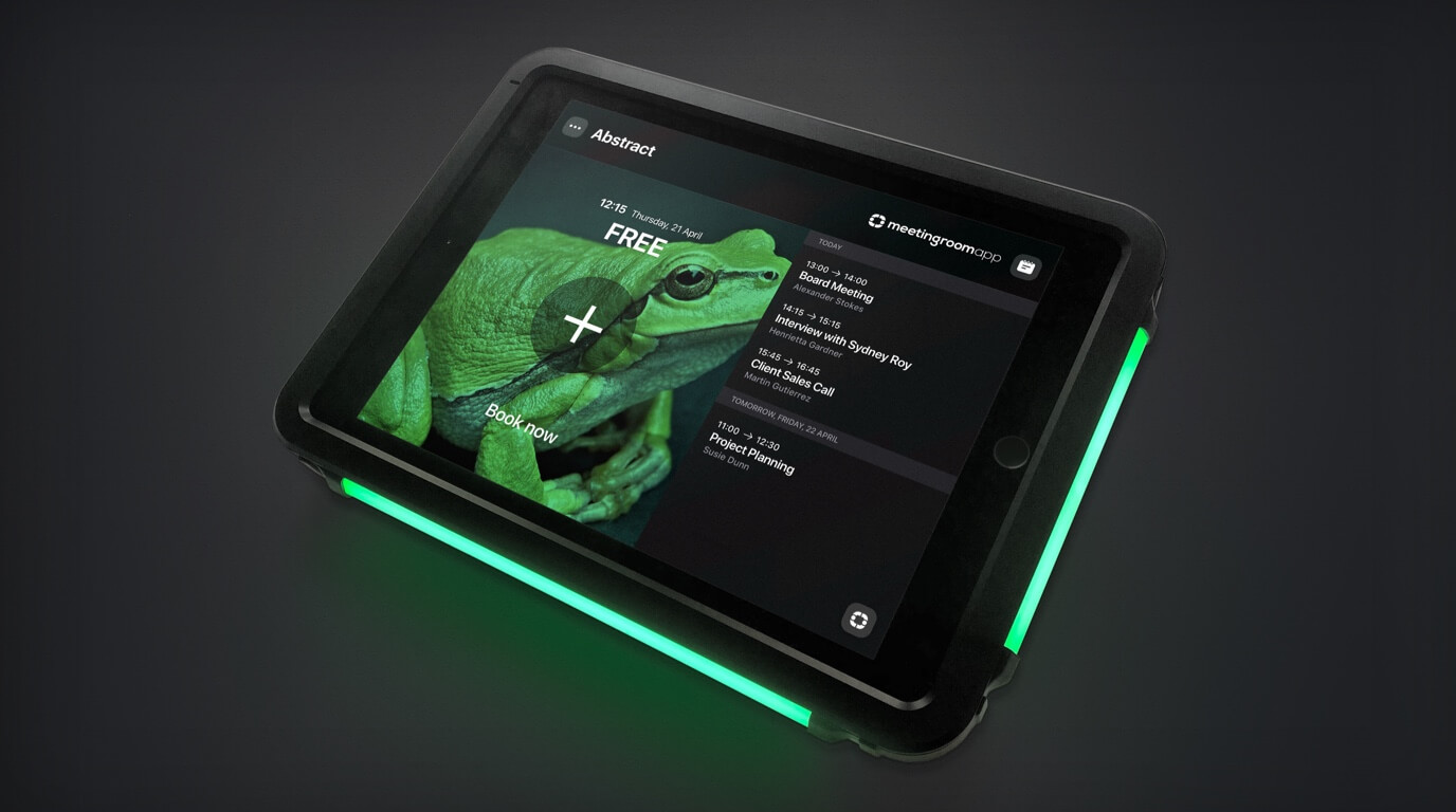meeting room app s iPad držakem s LED světly