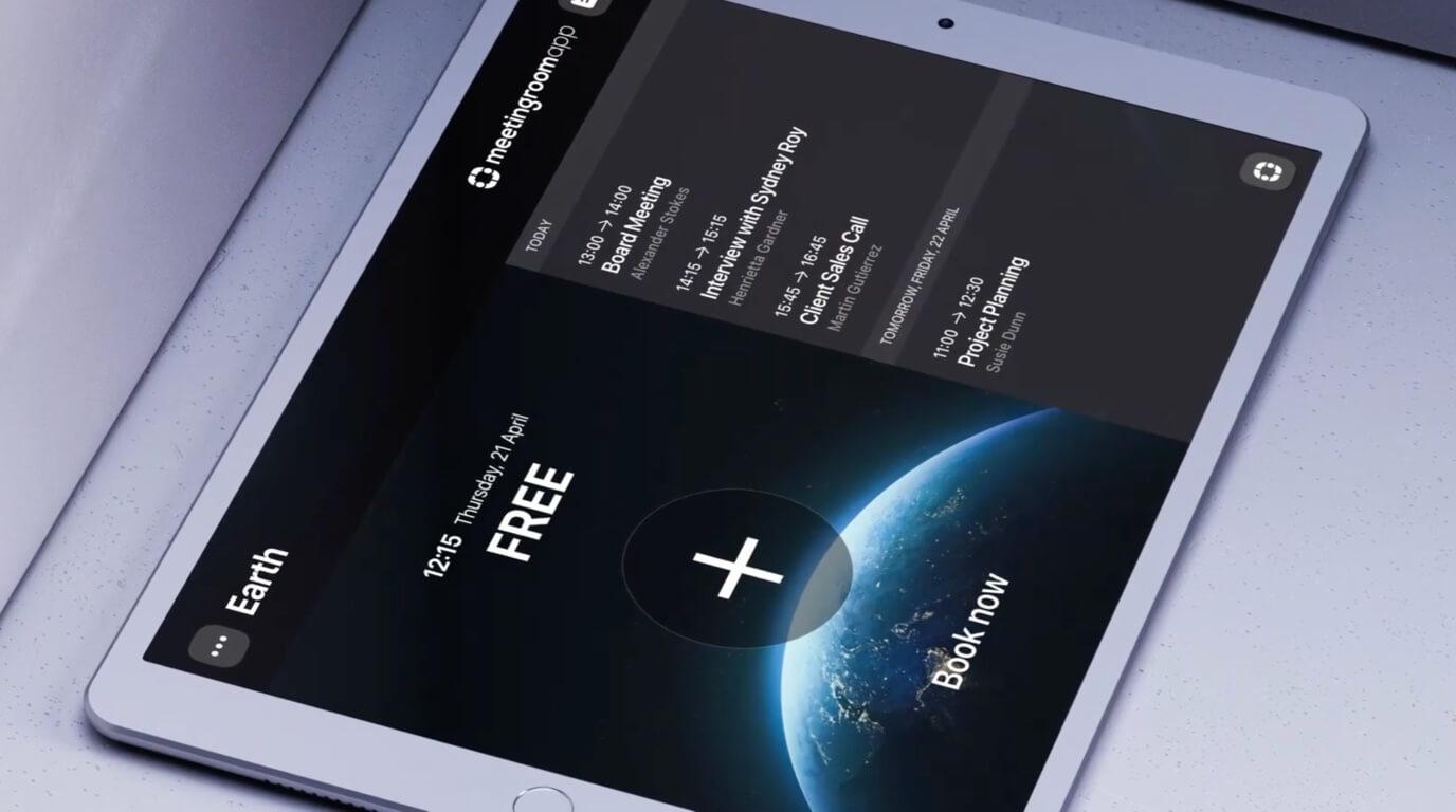 Дисплей планирования iPad для бронирования конференц-зала